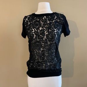 black floral lace t-shirt